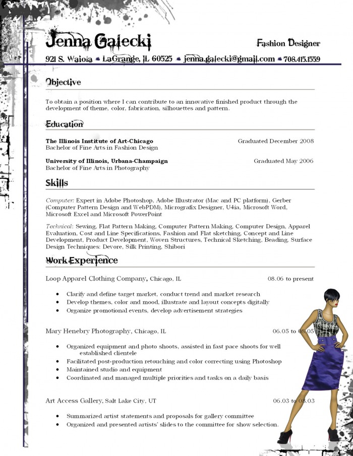 Jenna Galecki Fashion Designer Resume
